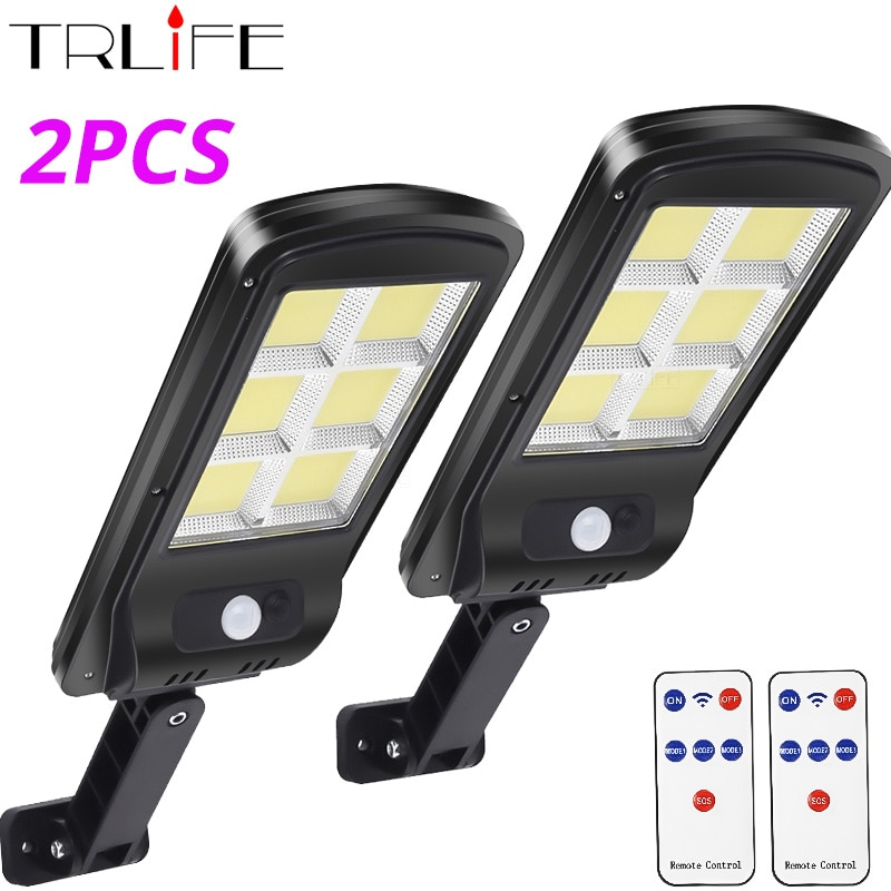 1/2pcs/Pack 128 COB Solar Street Lights Outdoor Security Light Wall Lamp Waterproof PIR Motion Sensor Smart Remote Control Lamp