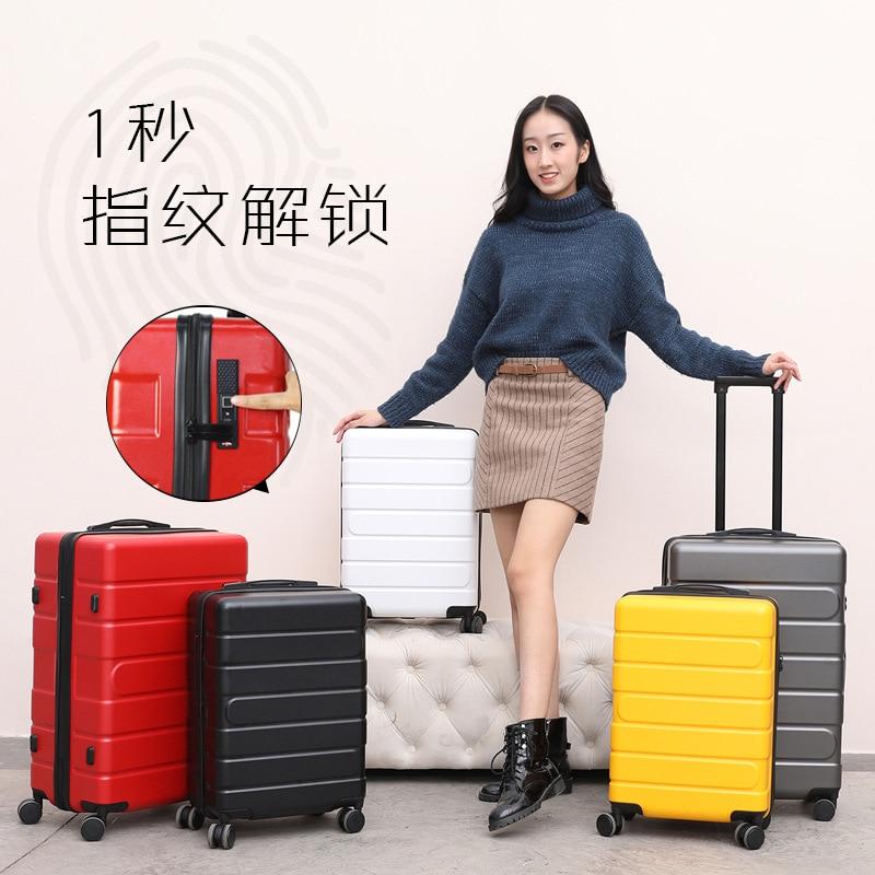 Serrure dempreintes digitales sac à bagages rotation 360 degrés bagage à main étanche voyage sac à bagages avec roues étui rigide valise