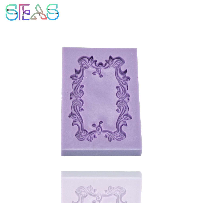 Кружевная рамка для фото, форма для украшения торта, форма для украшения торта, креативный Красочный мягкий инструмент для изготовления дес...