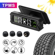 Temperature Warning Tyre Pressure Sensor Solar Power Tire Pressure Monitoring System Auto Security A