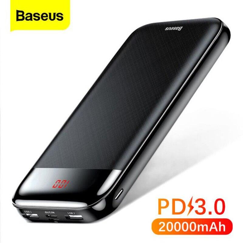 Baseus باور بنك 20000 مللي أمبير/الساعة, باور بانك محمول PD سريع الشحن لهاتف iPhone 11 Pro Max Xiaomi mi ، باور بانك خارجي بمنفذ USB C