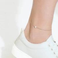 jujie 316l stainless steel pearl anklet bracelet for women 2021 foot chain anklets jewelry dropshippingwholesale