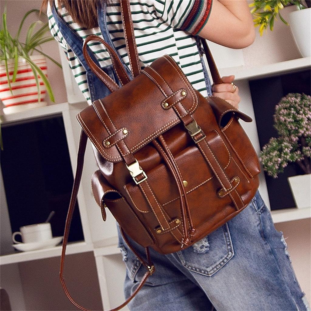 Women Backpack Female High Quality Leather Women School Bags For Teenage Girls Travel Back pack Rucksacks mochila mujer #1126