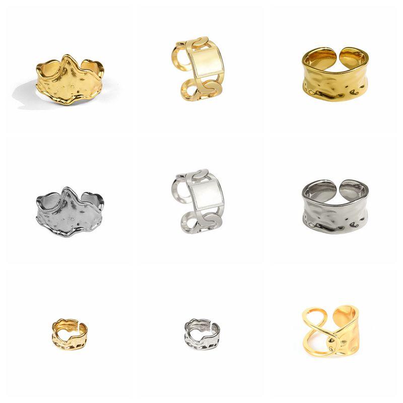 VINY 925 Серебряные корейские Золотые/Серебряные широкие и плоские кольца для женщин и девушек модные нестандартные регулируемые искусственн...