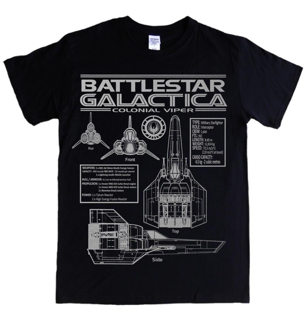 BATTLESTAR galactica-viper bleuets S-3XL t-shirt spécifications logo colonial tv hommes marque imprimé 100% coton t-shirts