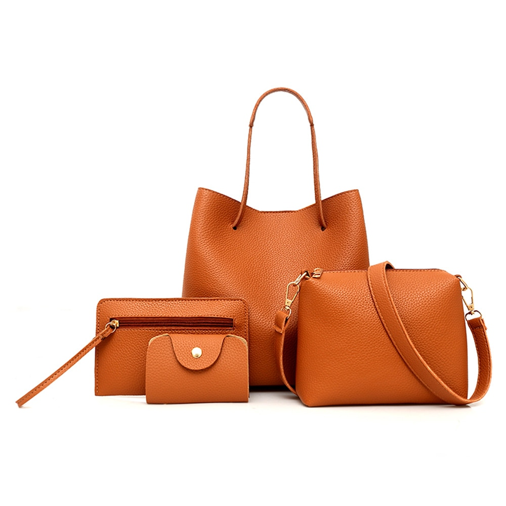 famous brand women composite bag top handle bags fashion lady shoulder bag handbag set pu leather bag women s handbags 4pcs set Dropship 4PCS/Set Women Lady Leather Composite Bag Fashion Casual Shoulder Bag Handbag Satchel Clutch Bag Coin Purse 5 Colors
