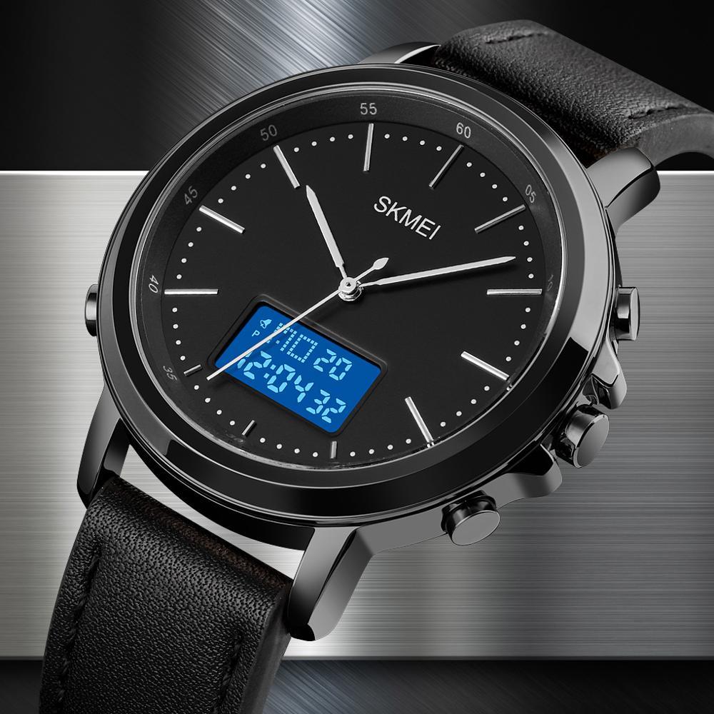 SKMEI Men Minimalism Sports Watches Electronic Men's Watch Clock Top Brand Business Vintage Leather Band Digital Wristwatch Male
