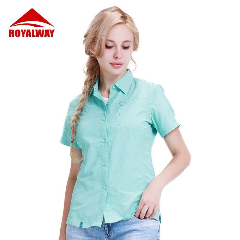 Royalway acampamento caminhadas mulheres camisa de pesca militar respirável secagem rápida curto mangas compridas uv divisão camisas ril7059cs