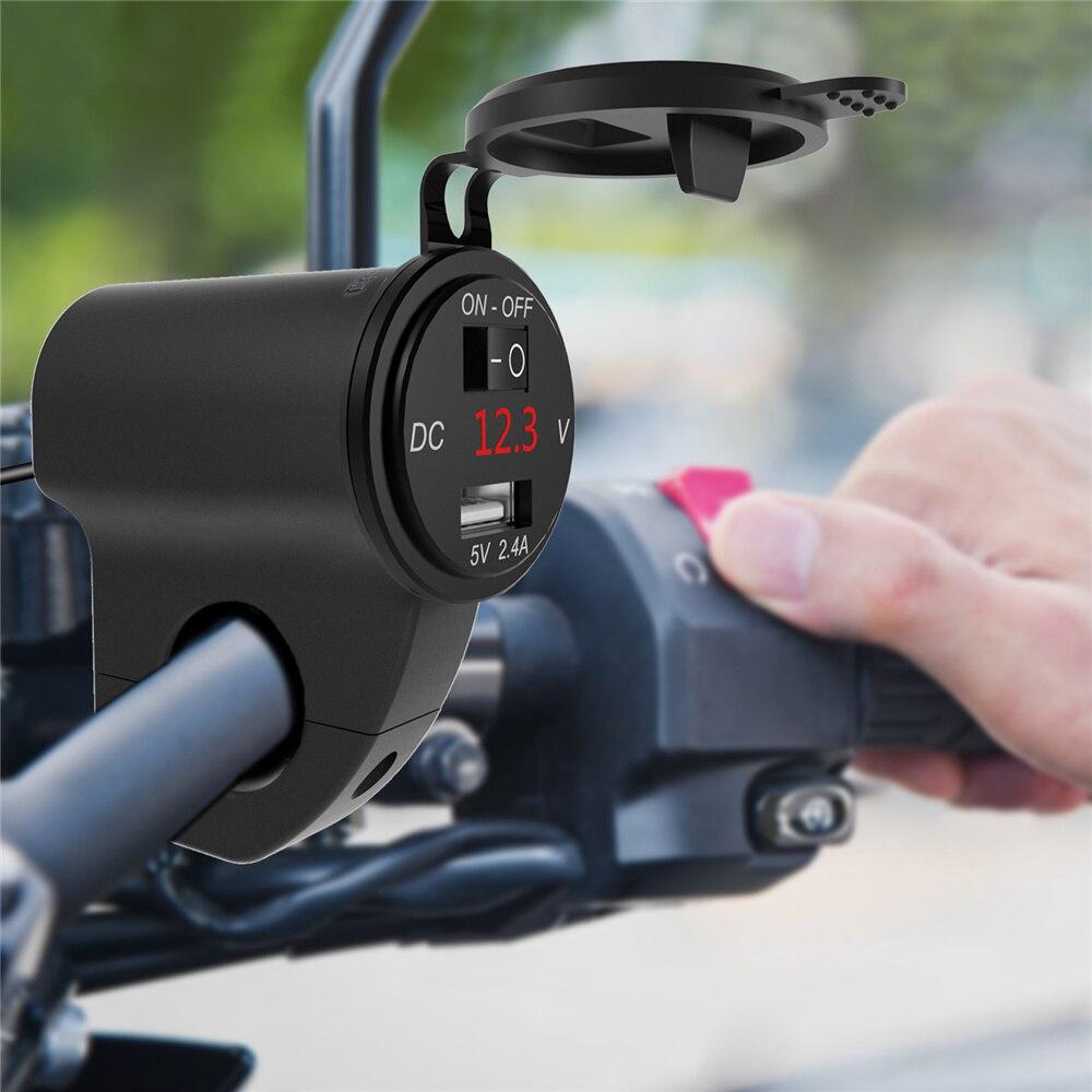 Motorcycle Dual USB Fast Charger Cigarette Socket Lighter Metal Waterproof Power Outlet 2.4A Digital Display Mobile Phone Adapte