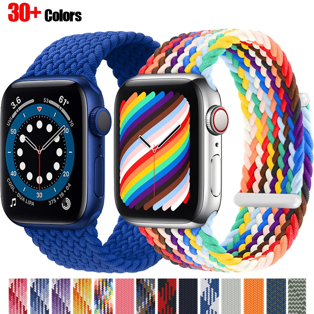 nylon braided solo loop for apple watch band 6 5 3 bands 44mm 40mm 38mm 42mm elastic strap bracelet for iwatch series 6 5 4 2 1 2021 Braided Solo Loop Nylon fabric Strap For Apple Watch band 44mm 40mm 38mm 42mm Elastic Bracelet for iWatch Series 6 SE 5 4 3