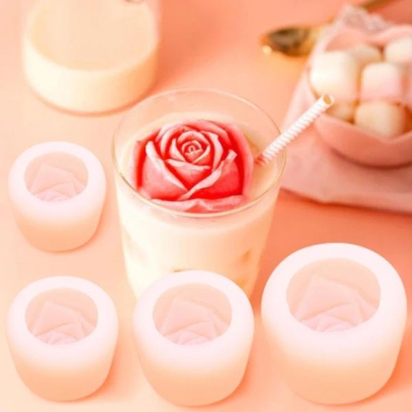 3D Rose IceCube Mold Silicone Rose Flower Ice Mold Used for Wine Drink Decoration J8 enlarge