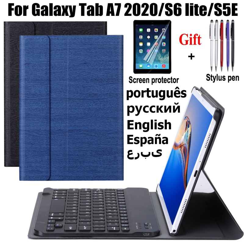حافظة لهاتف سامسونج جالاكسي تاب A7 2020 S6 lite 10.4 s5e 10.5 حافظة جلدية للوحة المفاتيح مزودة بتقنية البلوتوث