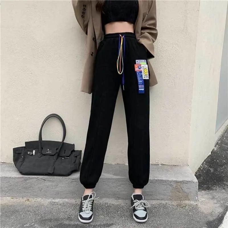 Outono inverno feminino plus cashmere calças quentes moda cintura alta cordão jogging calças mulher coreano solto streetwear calças