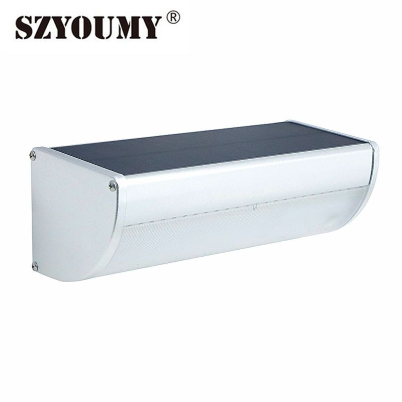 Luz solar Led de szyoumy luz 32 48 60 Led 360 ° Sensor de movimiento de Radar aleación de aluminio carcasa impermeable luz de pared para cubierta de jardín