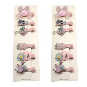 12PCS/2Cards Mouse Flowers Pink Girls Clips Bow Child Tie Knot Creativity Handmade Hairpins Fashion Hair Accessories For Kids