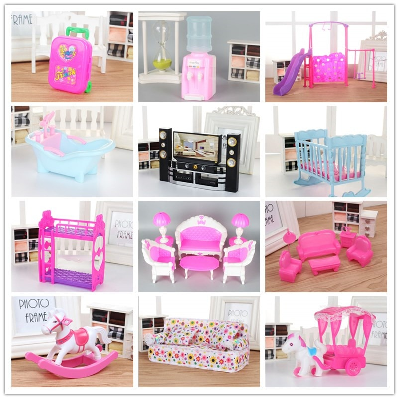 Mezcla de lols muñeca muebles de plástico lavadora cuna cama sofá eléctrico coche fuente de beber para lols muñeca Kellyes Accesorios