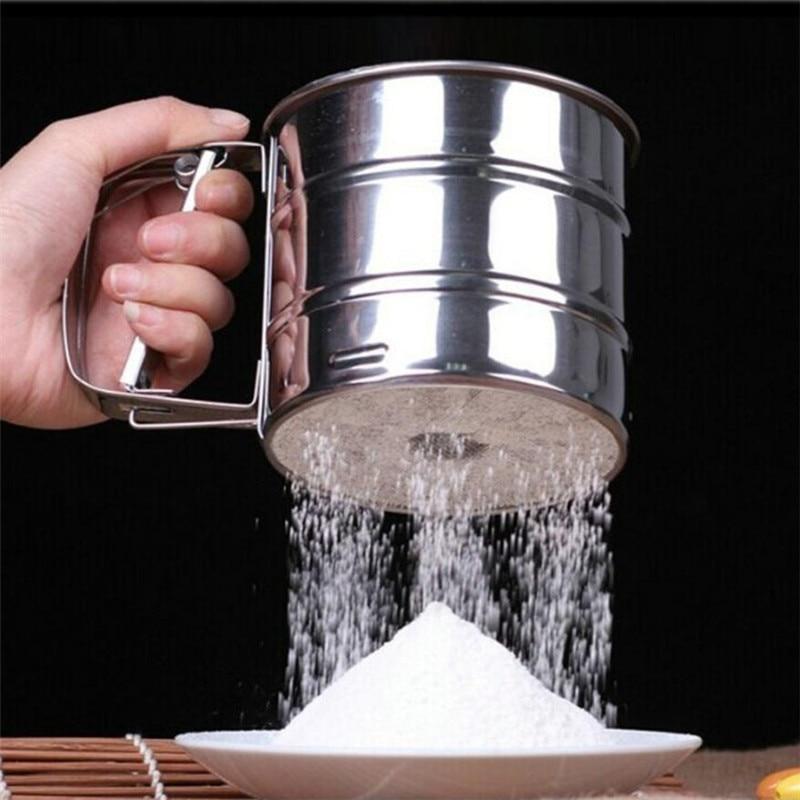 1 Pcs נירוסטה מסננת כוס אבקת קמח מסננת רשת אפייה לעוגות לקשט מאפה כלים בישול