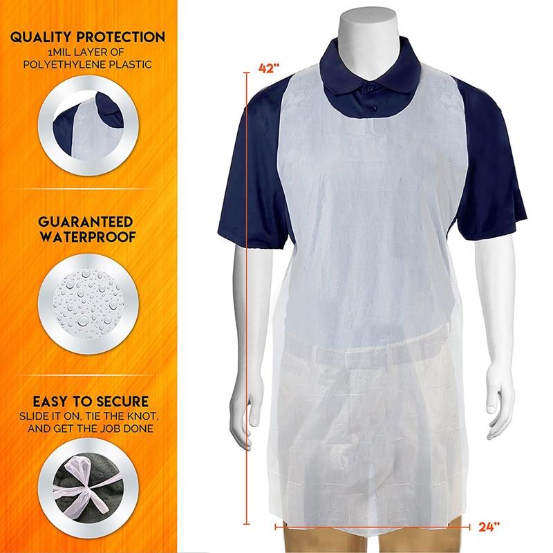 Gran oferta 100 unids/set delantales de cocina transparentes de fácil uso para mujeres y hombres delantal de cocina Nuevo delantal de limpieza blanco desechable