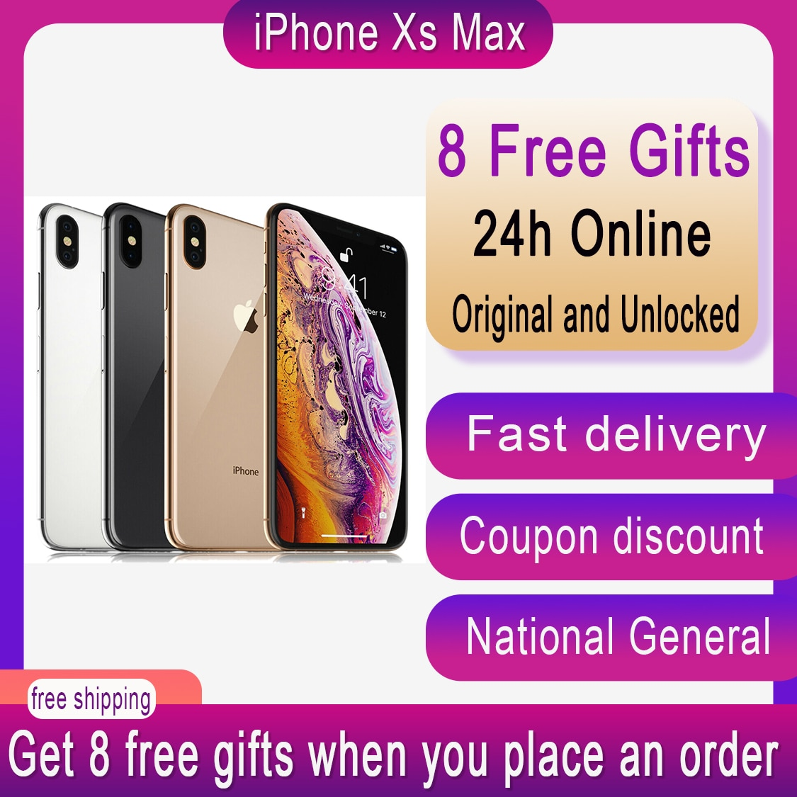 Genuine Original Apple iPhone XS Max 5.8 inch 4GB RAM 64/256GB ROM Smartphone Hexa Core IOS A12 Bionic NFC 4G LTE Cell Phone