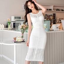 2020 été nouveau coréen élégant mode dentelle évider crayon robe femmes sans manches col rond blanc moulante robe Vestido