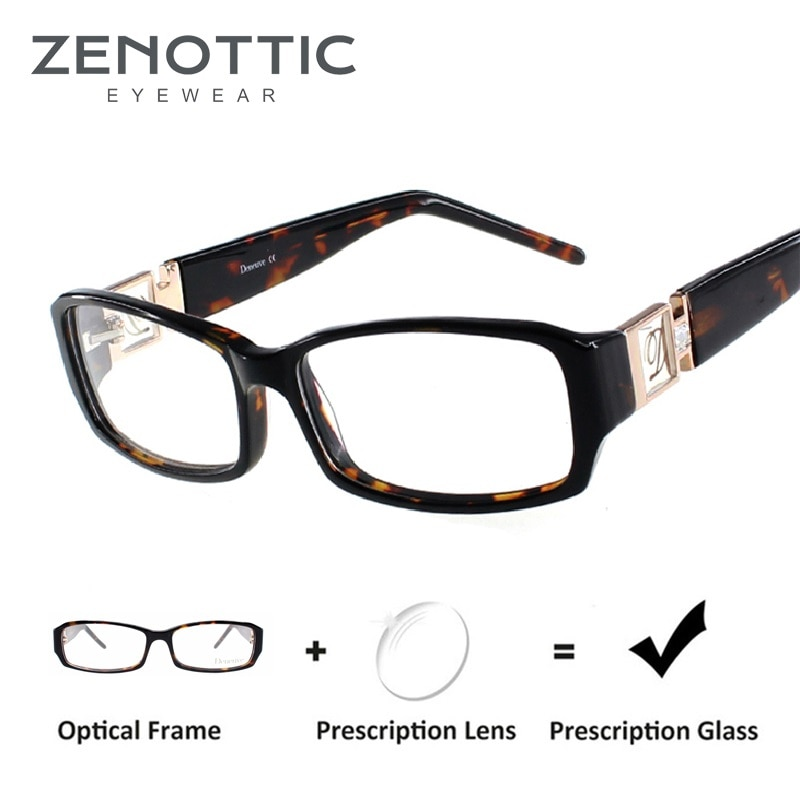 ZENOTTIC Acetate Prescription Glasses Frame Women Rectangle Optical Myopia Spectacle Luxury Brand De