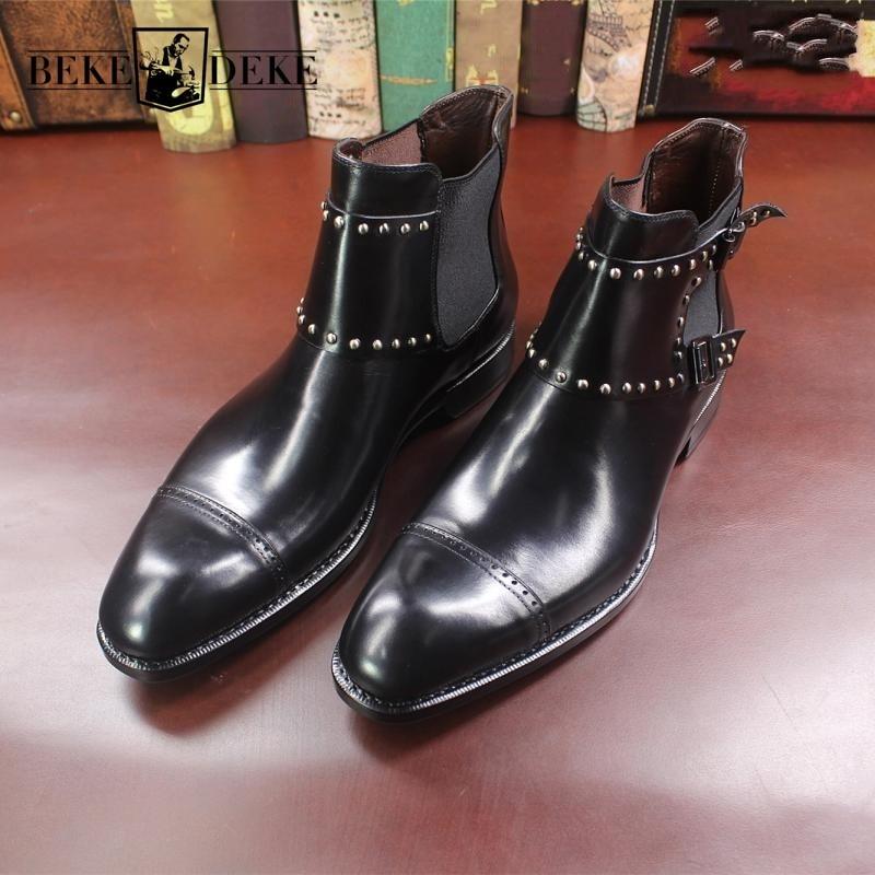 النمط البريطاني موضة جديدة رجالي أشار تو جلد طبيعي تشيلسي الأحذية برشام تصميم Vintage جلد البقر في الهواء الطلق حذاء بوت بطول الكاحل