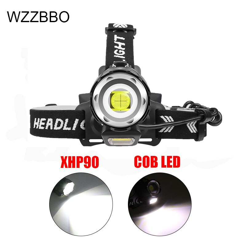 Headlight head band with lights 18650 battery camping headlamp rechargeable led headlight fishing headlight rechargeable