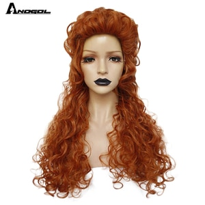 Anogol AnimeThe Nutcracker And The Four Realms Clara Queen Ginger Wig Long Kinky Curly Orange Synthetic Cosplay Party Wig