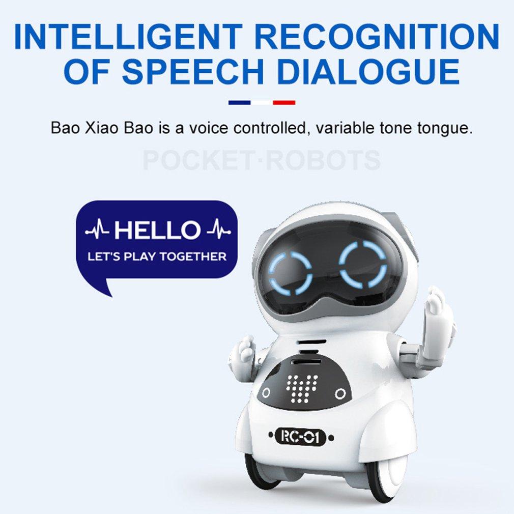 HOT Intelligent Mini Pocket Robot Walk Music Dance Light Voice Recognition Conversation Repeat Smart Kids Toy Interactive