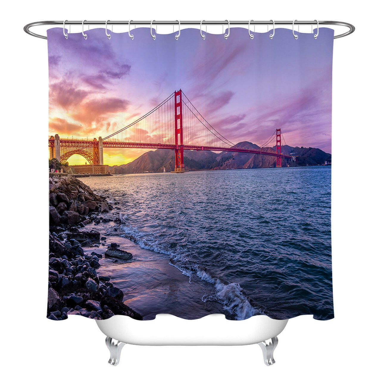 Golden gate bridge sunset banheiro cortina de chuveiro impermeável forro tecido