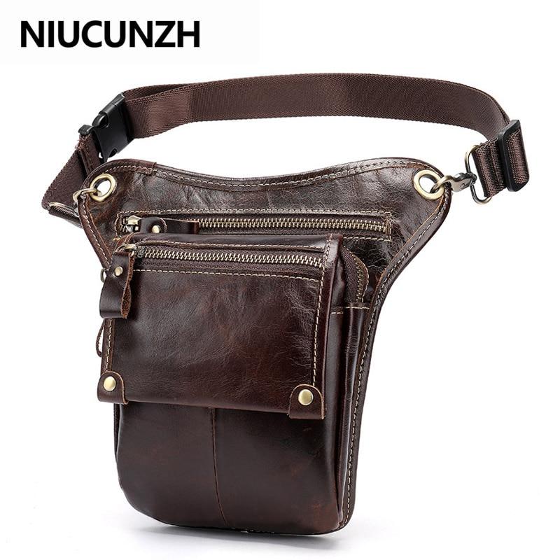 Niusunzh кожаная забавная поясная сумка, сумки для ног, сумка для ремня, Мужская мотоциклетная сумка для ног, сумка для телефона из натуральной к...