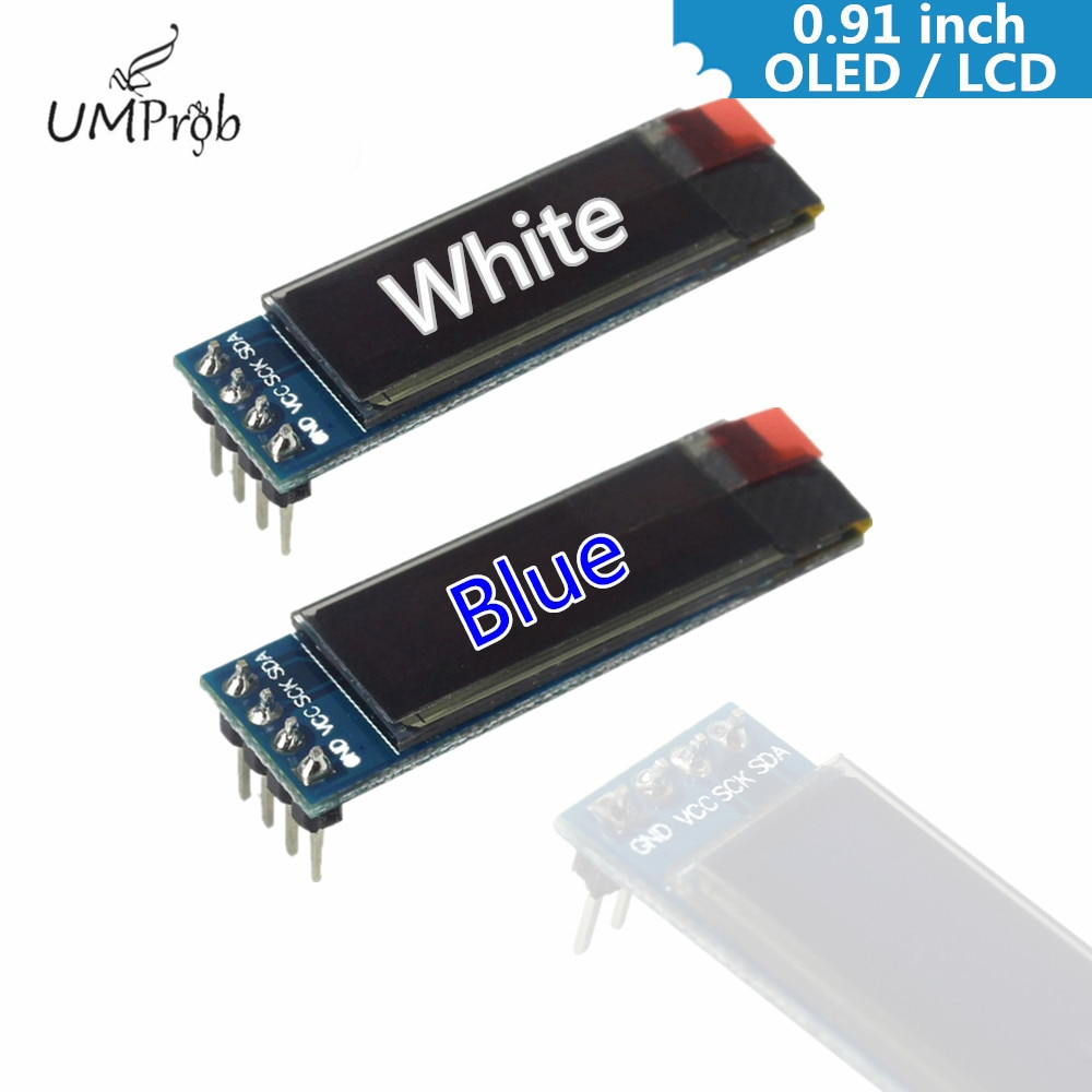 0.91 Inch 128x32 IIC I2C White / Blue OLED LCD Display DIY Module SSD1306 Driver IC DC 3.3V 5V for arduino