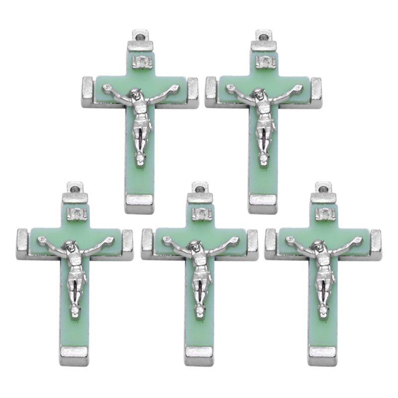 5x colgante luminoso de Metal con cruz de Cristo Jesús, adornos crucifijo que brillan en la oscuridad