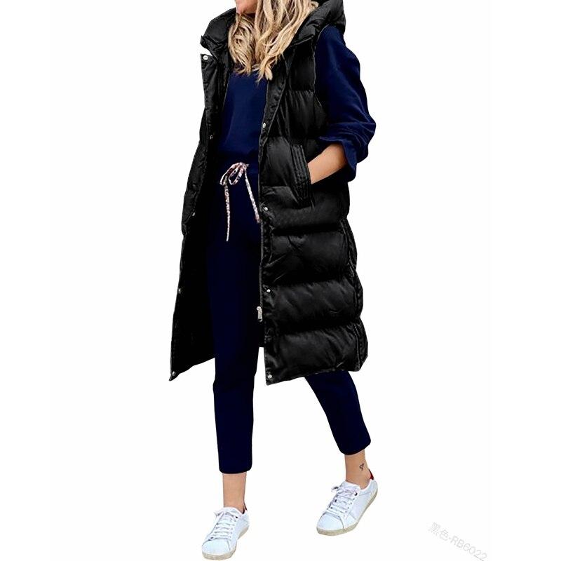 معطف الشتاء المرأة طويلة مقنعين جاكيت بلا إكمام فضفاض موضة عادية واحدة الصدر سترة دافئة امرأة Lugentolo