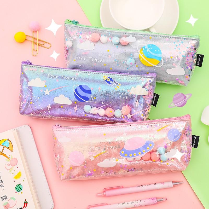 Милые Чехлы для карандашей с галактикой, цветной прозрачный пенал с лазером, маленький пенал для ручек и карандашей, школьные принадлежност...