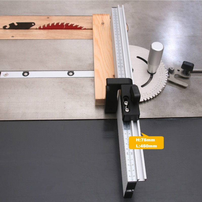 Woodworking Table Saw 450mm Miter Gauge and Fence Set with Track Stop Sawing Assembly Aluminium Alloy Ruler enlarge