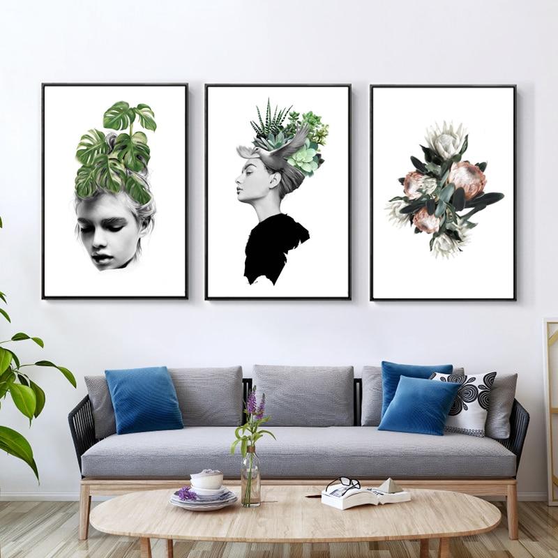 Картины для набросков, Скандинавская фигурка с зелеными листьями растений, холст, живопись, настенное искусство, Декор для дома, гостиной, п...