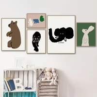 abstract cartoon animals canvas painting nordic bear rabbit tiger posters and prints wall art pictures for kids room decor