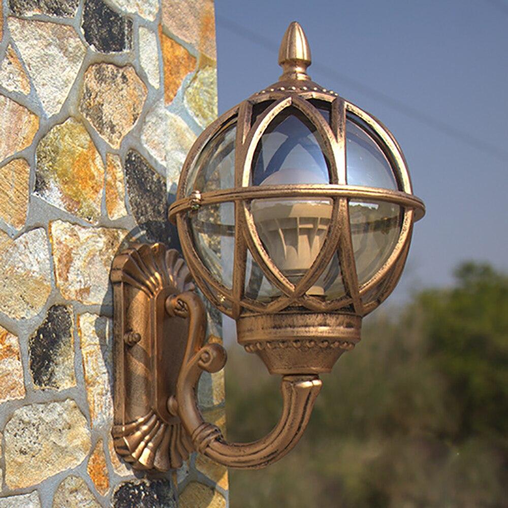 Retro luz de parede europa villa arandela lâmpada e27 exterior à prova dwaterproof água ao ar livre jardim porta luz do vintage varanda lâmpada bronze preto