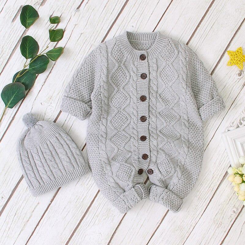 2020 nowych chłopców jednolite ubrania dla dzieci dziewczyny zapinany z przodu kombinezon z dzianiny wełniana piłka Cap noworodka bawełna Romper dla 0-3 wiek