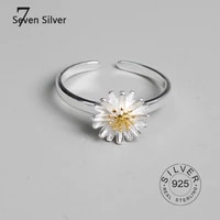 real 925 sterling silver finger rings for women daisy flower trendy fine jewelry large adjustable antique rings anillos