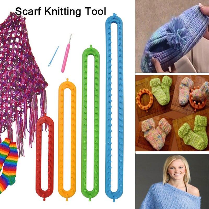Telar gancho 4 tamaño bufanda Peg Board ganchos telares telar tejer Kit de telar tejido de tejido silenciador de forma larga herramienta de plástico