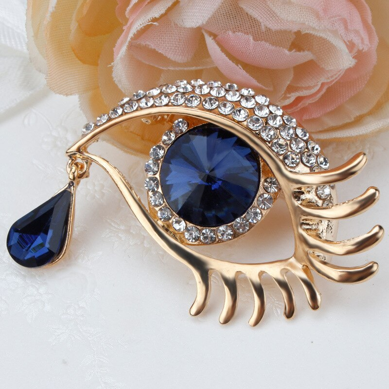 Moda Ángel lágrima broche con diamantes de imitación de cristal de Ojo Azul broches flores para mujer moda desenfadada de FPJXZ101