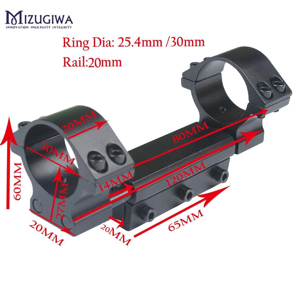 Mizugiwa tek parça 25.4mm/30mm Airgun dağı yüzük w/durdurma pimi adaptörü 20mm Picatinny ray kırlangıç Weaver tabanca Airgun tüfek