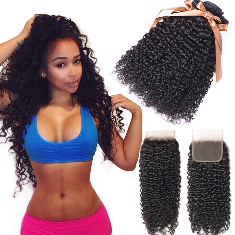 kinky Curly Human Hair Bundles With Closure 4x4 Lace Closure with Budles 3 BundlesHuman Hair Weaves with Closure Remy Extension
