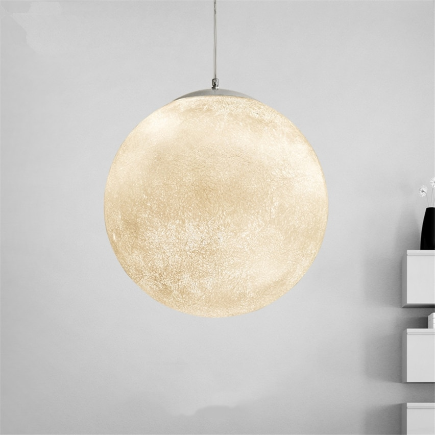 Novelty Creative individuality 3D Print Pendant Lights Moon Atmosphere Night Light Lamp Restaurant B