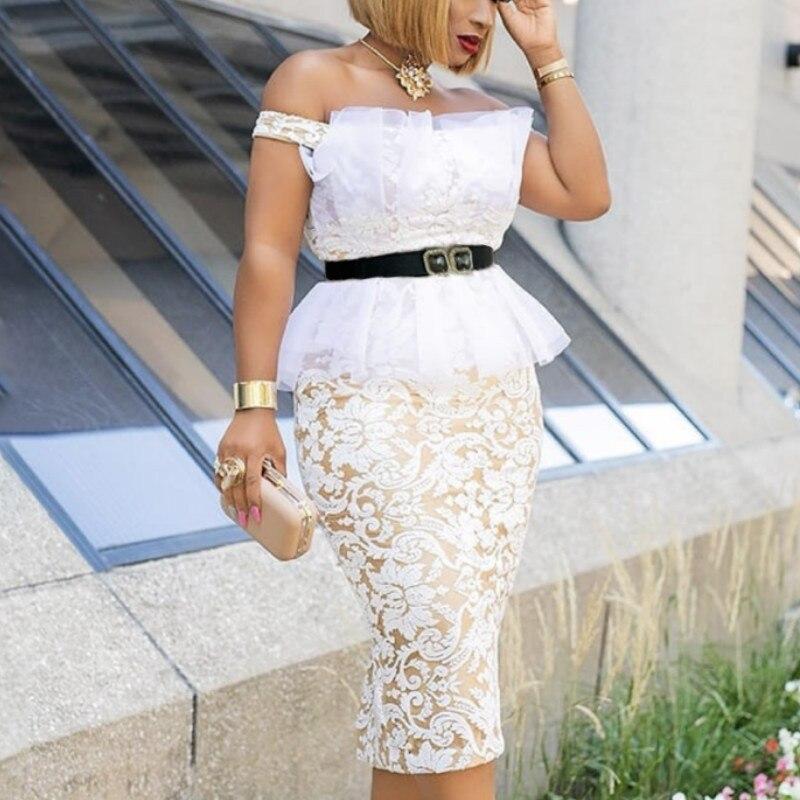 الدانتيل الأنيق Ptachwork الكشكشة الأبيض فستان طويل Bodycon النمط الأفريقي مثير الخامس الرقبة ماكسي رداء حجم كبير فستان الحفلات النساء مساء