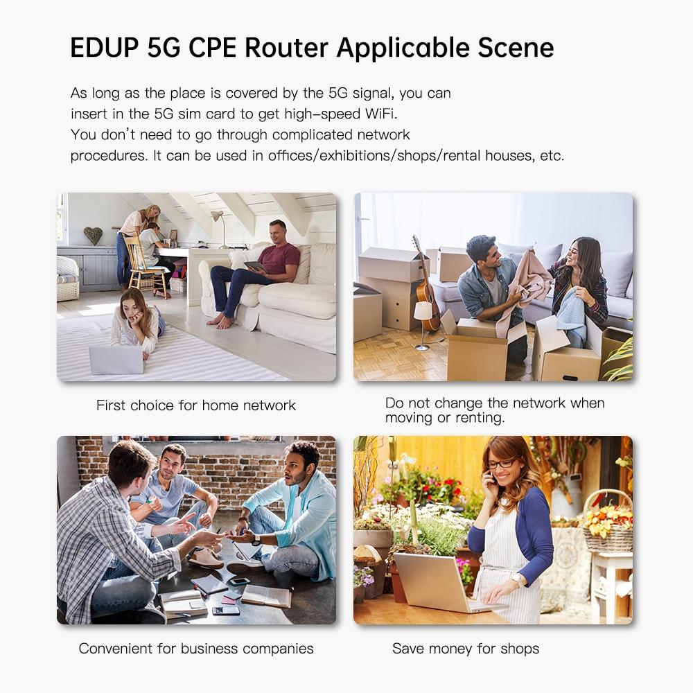 EDUP 5G CPE Wifi6 Dual Band Smart Wireless Router Gigabit Port Multi-Service Router 5G NR: N1/N3/N8/N28/N41/N77/N78/N79 enlarge