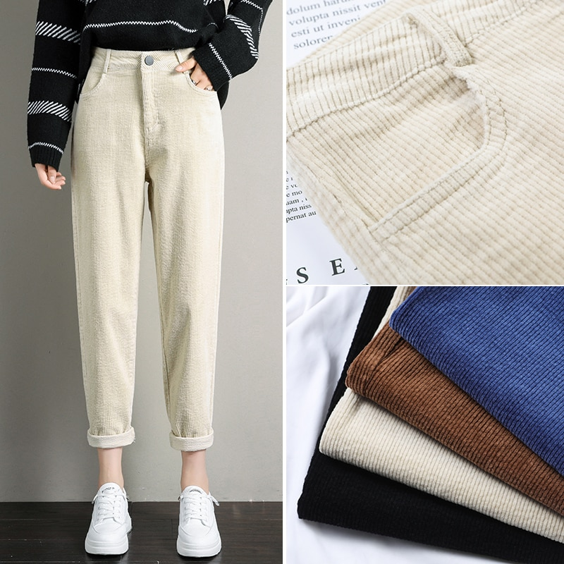 Coreano Otoño Invierno pantalones de pana de mujer de cintura alta bolsillos Pantalones de mujer talla grande 2019 streetwear Harem pantalones pantalon femme