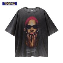 Tideshec Cool Men Cotton DennisRodman Portrait T Shirt Short Sleeve Crew Neck Graphic Fashion T-Shirts Hip Hop Streetwear Tee